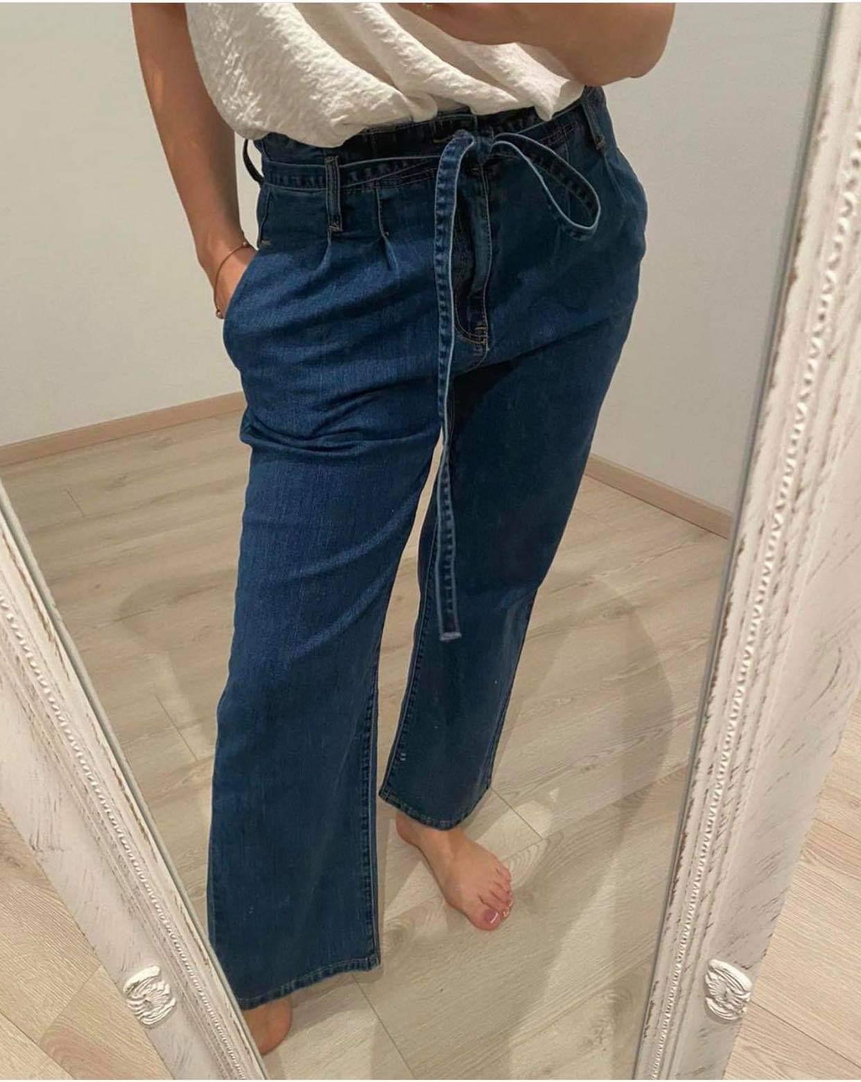 Tiesūs platūs džinsai