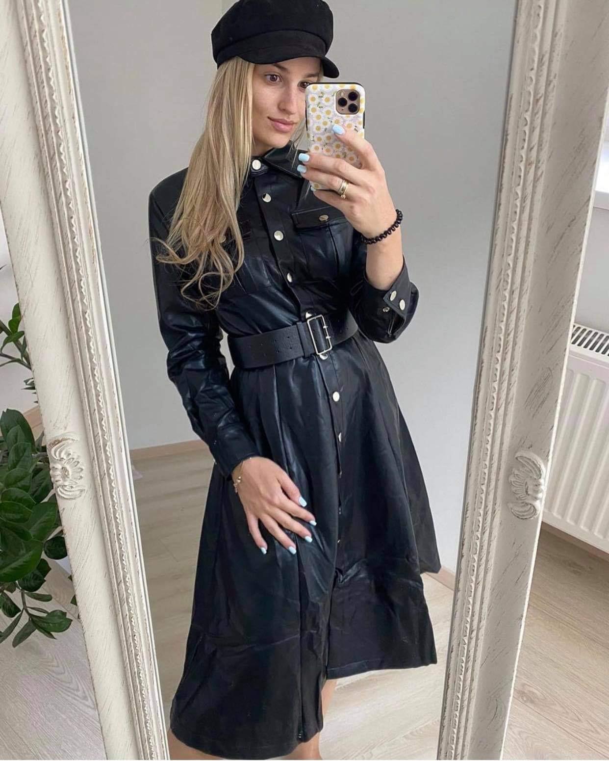 Eko odos ilga suknelė su knopkėm