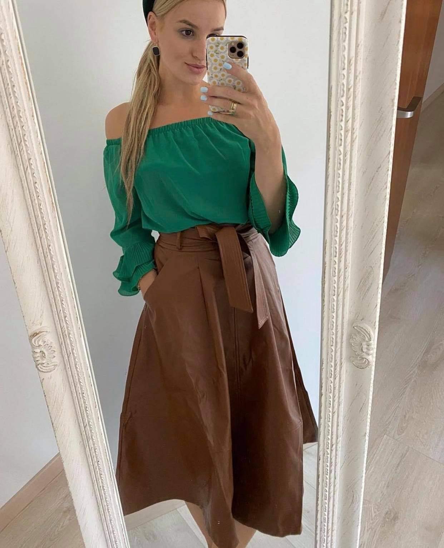 Rudas eko odos kliošo sijonas su dirželiu