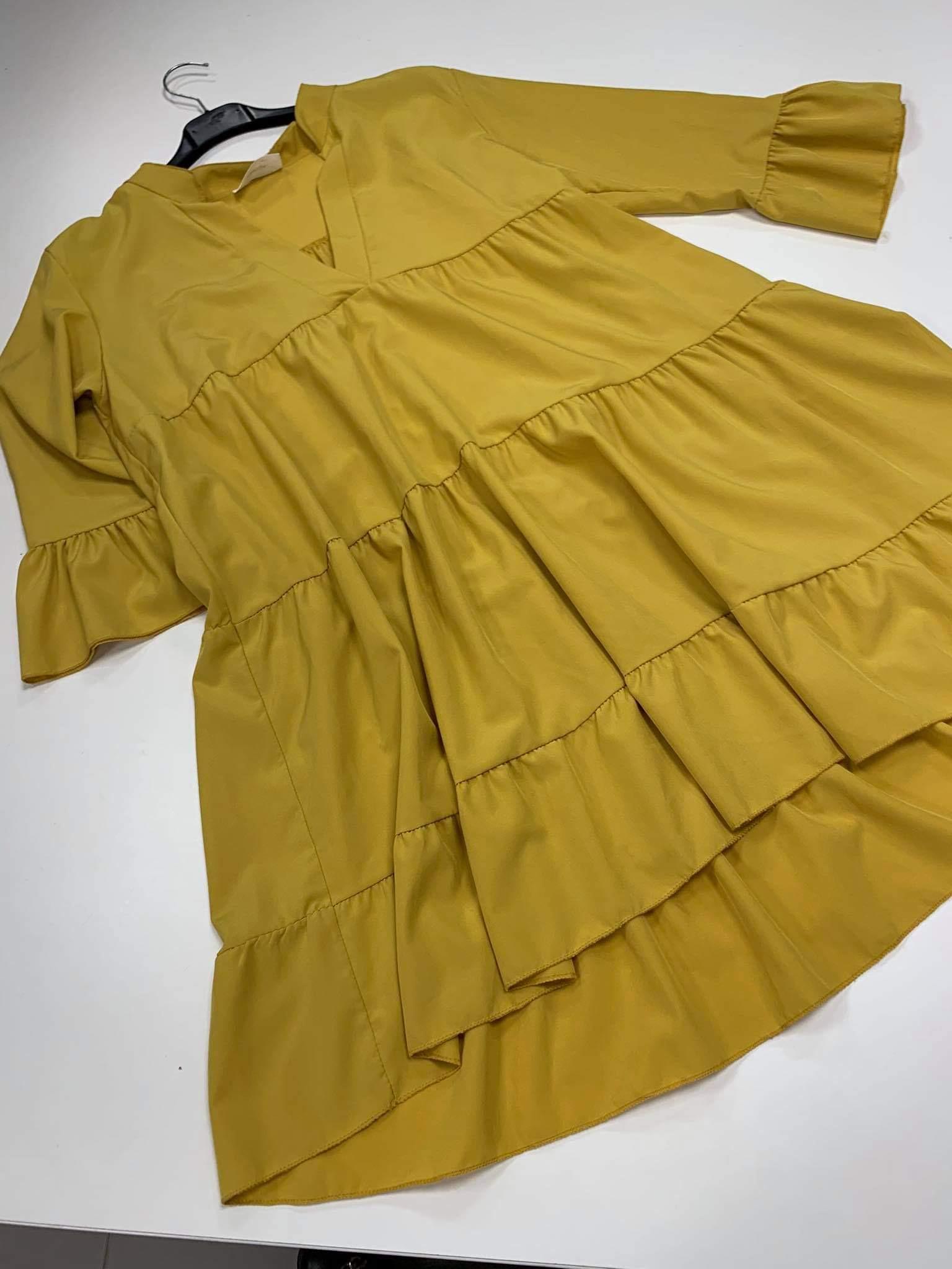 Varpelio formos garstyčių spalvos suknelė tunika.