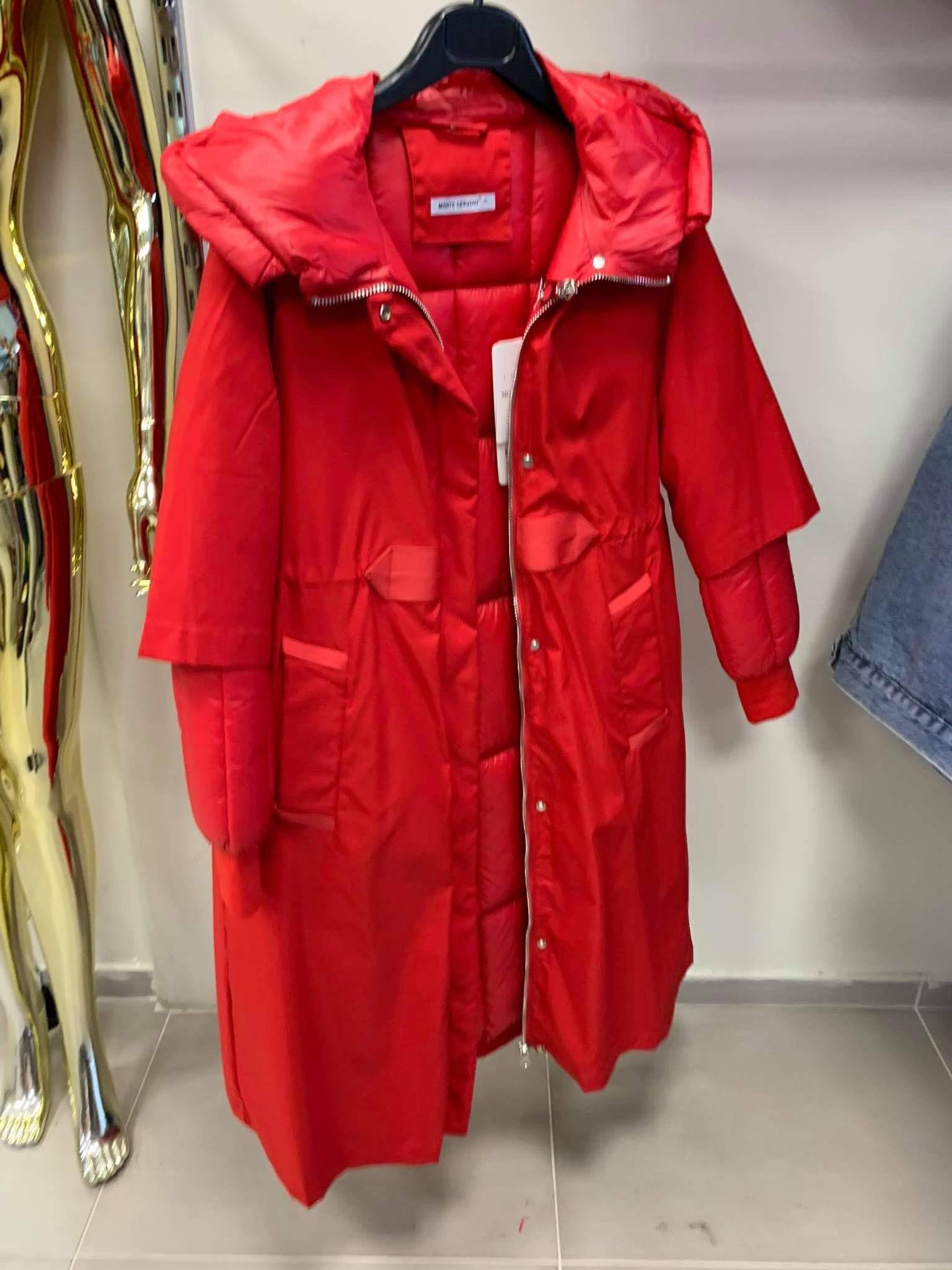 Raudonas paltas-striukė