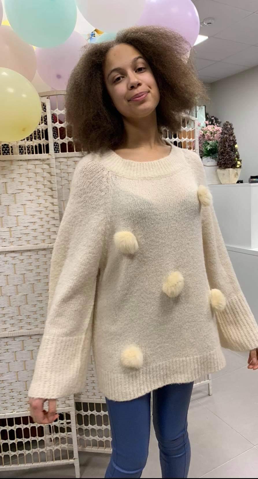Kreminis megztinis su burbulais