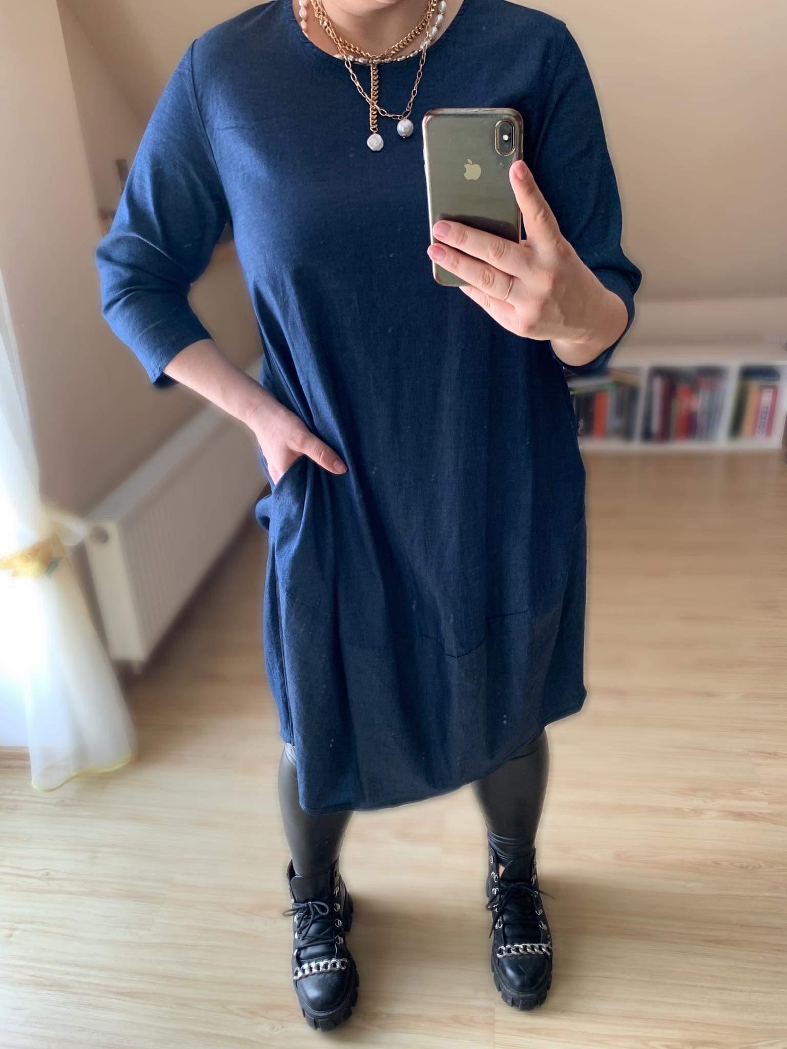 Džinsinè oversized suknelè su kišenèmis kokono tipo