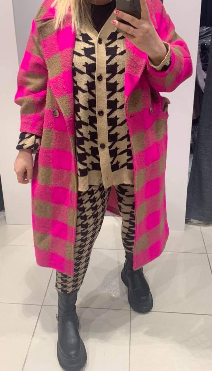 Ruda/rožinè oversized paltas su vilna