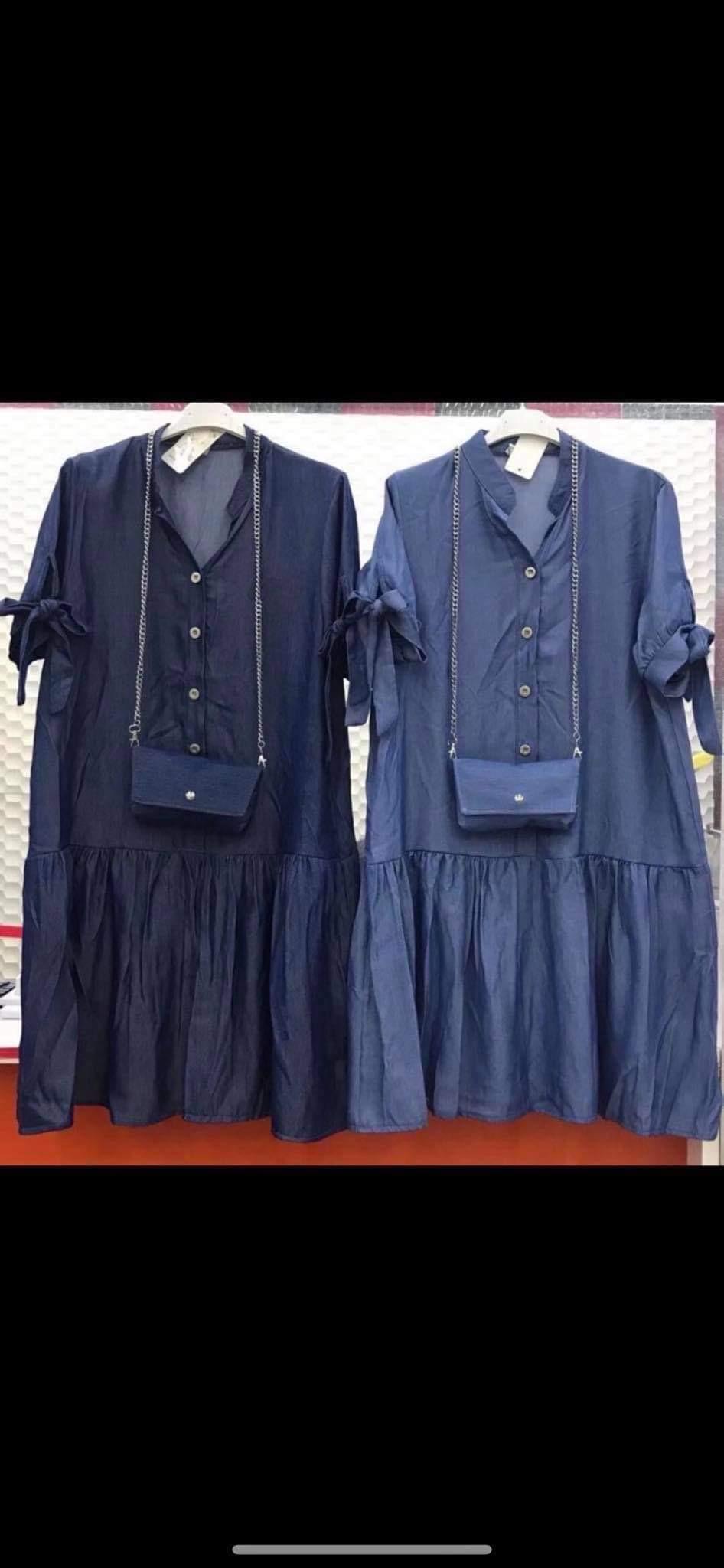 Stilinga džinsinė suknelė su tašele ir sagutėm